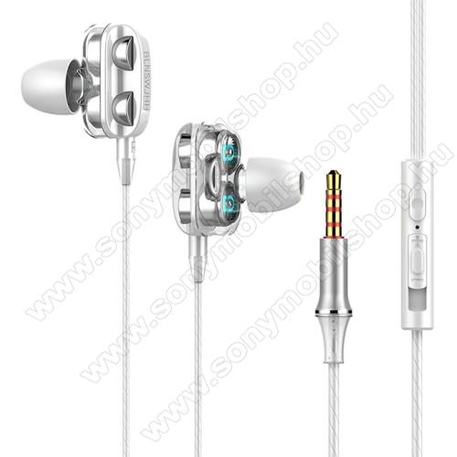 UNIVERZÁLIS sztereo headset - 3,5mm jack csatlakozó, négy hangszórós, cseppálló, beépített mikrofon, felvevő gomb, hangerő szabályzó, 1.2m hosszú kábel - FEHÉR
