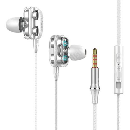 ACER Iconia Tab 8 A1-840FHD UNIVERZÁLIS sztereo headset - 3,5mm jack csatlakozó, négy hangszórós, cseppálló, beépített mikrofon, felvevő gomb, hangerő szabályzó, 1.2m hosszú kábel - FEHÉR