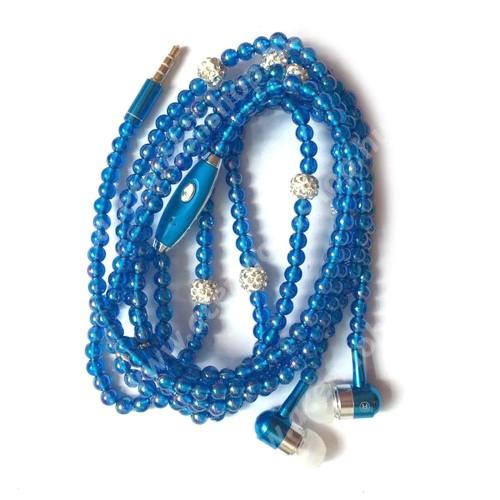 UNIVERZÁLIS sztereo headset - 3.5mm Jack, mikrofon, felvevő gomb, mágneses, gyöngyökkel díszített 1,2m-es vezeték - KÉK