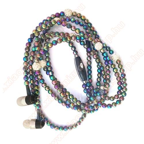 UNIVERZÁLIS sztereo headset - 3.5mm Jack, mikrofon, felvevő gomb, mágneses, gyöngyökkel díszített 1,2m-es vezeték - SZÍNES
