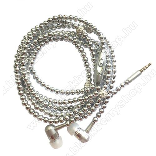 UNIVERZÁLIS sztereo headset - 3.5mm Jack, mikrofon, felvevő gomb, mágneses, gyöngyökkel díszített 1,2m-es vezeték - EZÜST