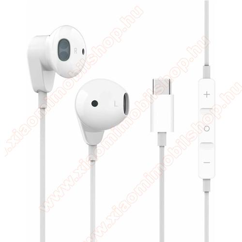 UNIVERZÁLIS SZTEREO HEADSET / James bond - Type-C, mikrofon, felvevő és hangerő szabályzó gomb, 1.2 m hosszú vezeték, zajszűrő - FEHÉR