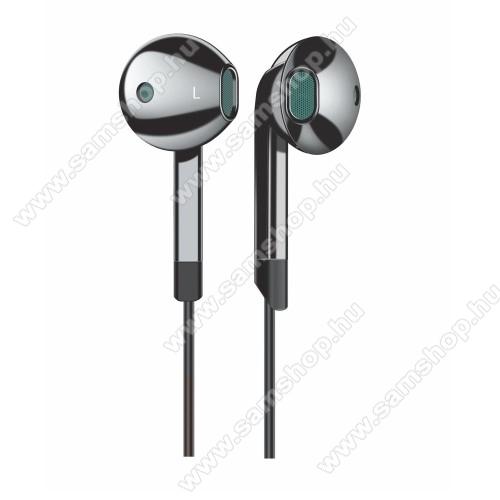 UNIVERZÁLIS SZTEREO HEADSET / James bond - Type-C, mikrofon, felvevő és hangerő szabályzó gomb, 120cm hosszú vezeték - FEKETE