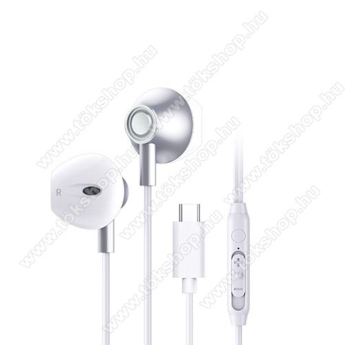 UNIVERZÁLIS SZTEREO HEADSET / James bond - Type-C, mikrofon, felvevő és hangerő szabályzó gomb, 120cm hosszú vezeték - FEHÉR
