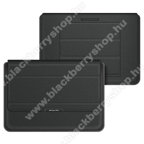 UNIVERZÁLIS Tablet / Laptop tok / táska - FEKETE - vízálló PU bőr, mágneses záródás, asztali tartó funkciós, csukló alátámasztás - 15
