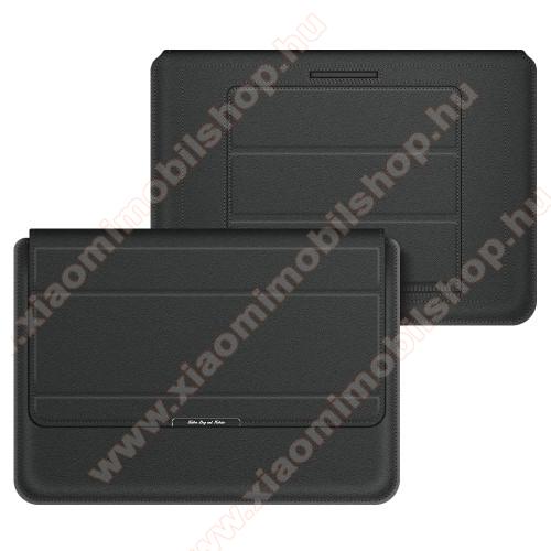 UNIVERZÁLIS Tablet / Laptop tok / táska - FEKETE - vízálló PU bőr, mágneses záródás, asztali tartó funkciós, csukló alátámasztás - 11-12