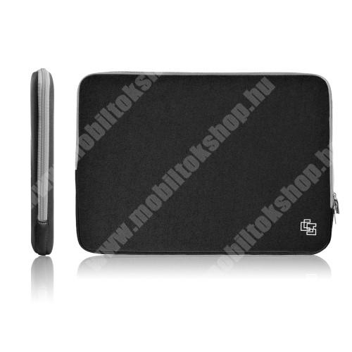 """UNIVERZÁLIS Tablet / Laptop tok / táska - FEKETE - szövet, neoprén, bársony belső, 2 különálló zsebbel, ütődésálló, vízálló - ERŐS VÉDELEM! - 17""""-os készülékekig használható, 355cm x 260mm"""