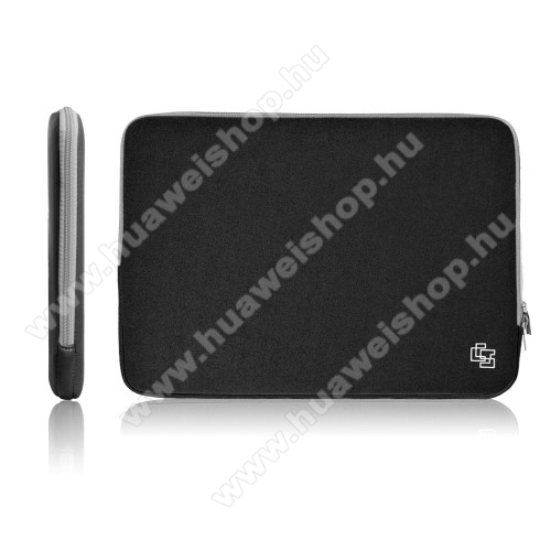 UNIVERZÁLIS Tablet / Laptop tok / táska - FEKETE - szövet, neoprén, bársony belső, 2 különálló zsebbel, ütődésálló, vízálló - ERŐS VÉDELEM! - 17