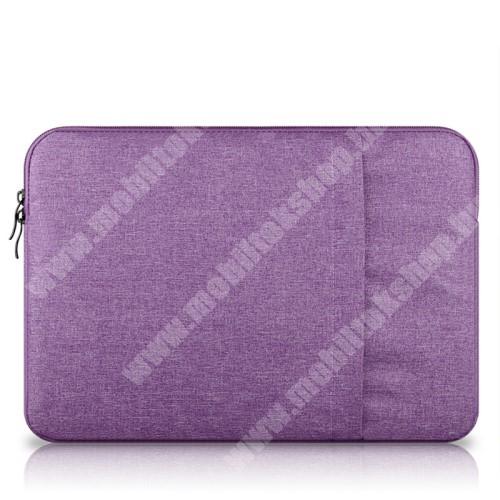 """UNIVERZÁLIS Tablet / Laptop tok / táska - LILA - szövet, bársony belső, 2 különálló zsebbel, ütődésálló - ERŐS VÉDELEM! - 13""""-os készülékekig használható, belső méret: 340 x 240mm"""