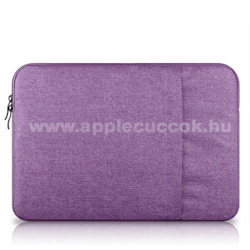 APPLE iPad Pro 12.9 (2017)UNIVERZÁLIS Tablet / Laptop tok / táska - LILA - szövet, bársony belső, 2 különálló zsebbel, ütődésálló - ERŐS VÉDELEM! - 13