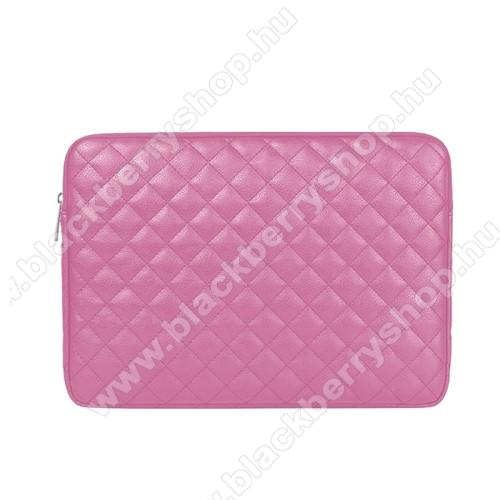 UNIVERZÁLIS Tablet / Laptop tok / táska - RÓZSASZÍN - ROMBUSZ MINTÁS - PU bőr, szövet, bársony belső, ütődésálló, vízálló - ERŐS VÉDELEM! - 15.6
