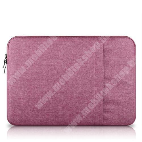 """UNIVERZÁLIS Tablet / Laptop tok / táska - RÓZSASZÍN - szövet, bársony belső, 2 különálló zsebbel, ütődésálló - ERŐS VÉDELEM! - 13""""-os készülékekig használható, belső méret: 340 x 240mm"""