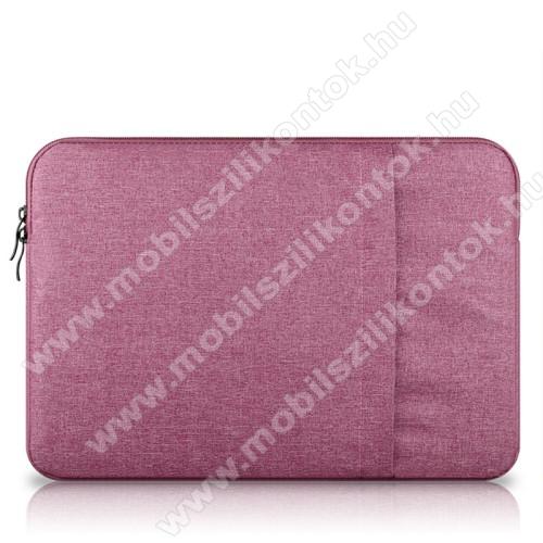UNIVERZÁLIS Tablet / Laptop tok / táska - RÓZSASZÍN - szövet, bársony belső, 2 különálló zsebbel, ütődésálló - ERŐS VÉDELEM! - 13