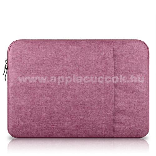 APPLE iPad Pro 12.9 (2017)UNIVERZÁLIS Tablet / Laptop tok / táska - RÓZSASZÍN - szövet, bársony belső, 2 különálló zsebbel, ütődésálló - ERŐS VÉDELEM! - 13