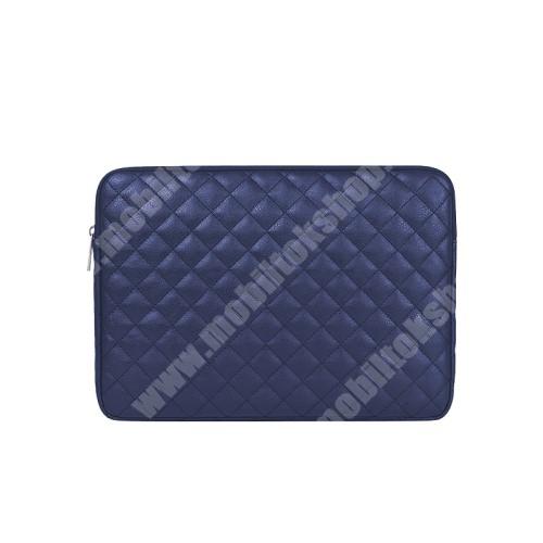"""UNIVERZÁLIS Tablet / Laptop tok / táska - SÖTÉTKÉK - ROMBUSZ MINTÁS - PU bőr, szövet, bársony belső, ütődésálló, vízálló - ERŐS VÉDELEM! - 13""""-os készülékekig használható, 360 x 265mm"""
