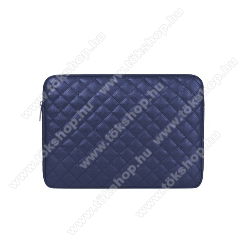 UNIVERZÁLIS Tablet / Laptop tok / táska - SÖTÉTKÉK - ROMBUSZ MINTÁS - PU bőr, szövet, bársony belső, ütődésálló, vízálló - ERŐS VÉDELEM! - 13