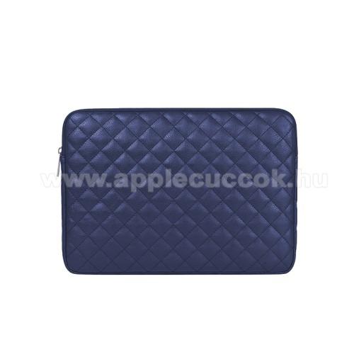 APPLE iPad Pro 12.9 (2017)UNIVERZÁLIS Tablet / Laptop tok / táska - SÖTÉTKÉK - ROMBUSZ MINTÁS - PU bőr, szövet, bársony belső, ütődésálló, vízálló - ERŐS VÉDELEM! - 13