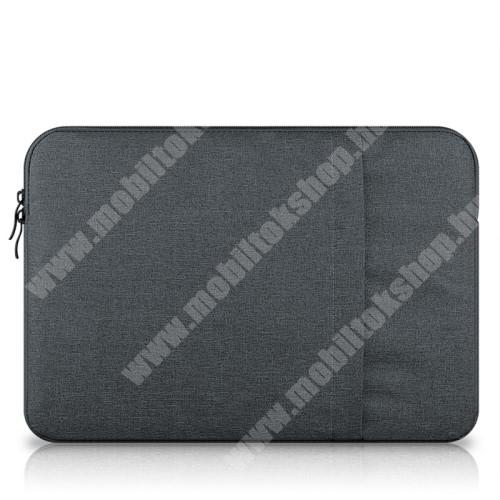 """UNIVERZÁLIS Tablet / Laptop tok / táska - SÖTÉTSZÜRKE - szövet, bársony belső, 2 különálló zsebbel, ütődésálló - ERŐS VÉDELEM! - 13""""-os készülékekig használható, belső méret: 340 x 240mm"""