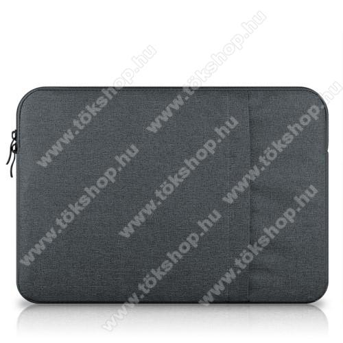 UNIVERZÁLIS Tablet / Laptop tok / táska - SÖTÉTSZÜRKE - szövet, bársony belső, 2 különálló zsebbel, ütődésálló - ERŐS VÉDELEM! - 13