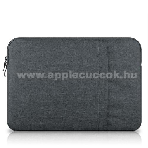 APPLE iPad Pro 12.9 (2017)UNIVERZÁLIS Tablet / Laptop tok / táska - SÖTÉTSZÜRKE - szövet, bársony belső, 2 különálló zsebbel, ütődésálló - ERŐS VÉDELEM! - 13