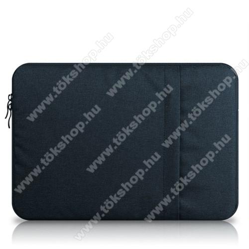 UNIVERZÁLIS Tablet / Laptop tok / táska - SÖTÉTKÉK - szövet, bársony belső, 2 különálló zsebbel, ütődésálló - ERŐS VÉDELEM! - 13