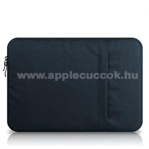APPLE iPad Pro 12.9 (2017)UNIVERZÁLIS Tablet / Laptop tok / táska - SÖTÉTKÉK - szövet, bársony belső, 2 különálló zsebbel, ütődésálló - ERŐS VÉDELEM! - 13