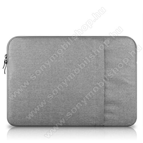 UNIVERZÁLIS Tablet / Laptop tok / táska - VILÁGOSSZÜRKE - szövet, bársony belső, 2 különálló zsebbel, ütődésálló - ERŐS VÉDELEM! - 13