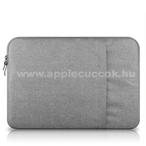 APPLE iPad Pro 12.9 (2017)UNIVERZÁLIS Tablet / Laptop tok / táska - VILÁGOSSZÜRKE - szövet, bársony belső, 2 különálló zsebbel, ütődésálló - ERŐS VÉDELEM! - 13