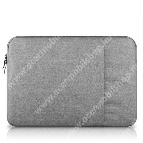 """UNIVERZÁLIS Tablet / Laptop tok / táska - VILÁGOSSZÜRKE - szövet, bársony belső, 2 különálló zsebbel, ütődésálló - ERŐS VÉDELEM! - 13""""-os készülékekig használható, belső méret: 340 x 240mm"""