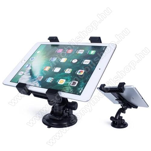 UNIVERZÁLIS TABLET PC autós / gépkocsi tartó - tapadókorongos, szélvédőre vagy műszerfalra rögzíthető, 360°-ban forgatható, 105-200mm-ig nyíló bölcső, 7-14
