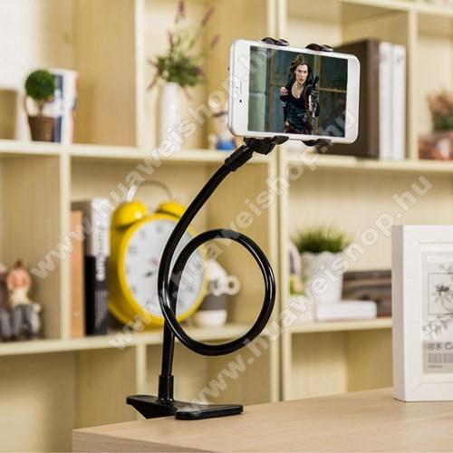UNIVERZÁLIS tablet Pc és okostelefon állvány - asztallapra csiptethető, csipeszes bölcső szorító szélessége: 5-60mm, elforgatható, 57cm magas flexibilis tartókarral - FEKETE
