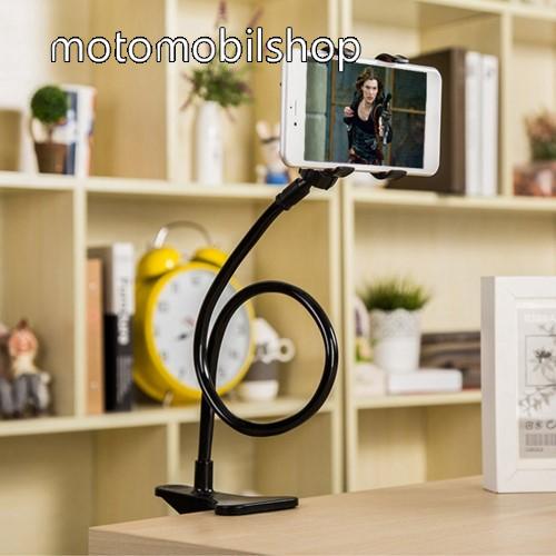 MOTOROLA W175 UNIVERZÁLIS tablet Pc és okostelefon állvány - asztallapra csiptethető, csipeszes bölcső szorító szélessége: 5-60mm, elforgatható, 57cm magas flexibilis tartókarral - FEKETE