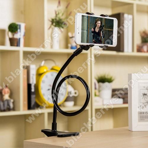 BLACKBERRY 8820UNIVERZÁLIS tablet Pc és okostelefon állvány - asztallapra csiptethető, csipeszes bölcső szorító szélessége: 5-60mm, elforgatható, 57cm magas flexibilis tartókarral - FEKETE