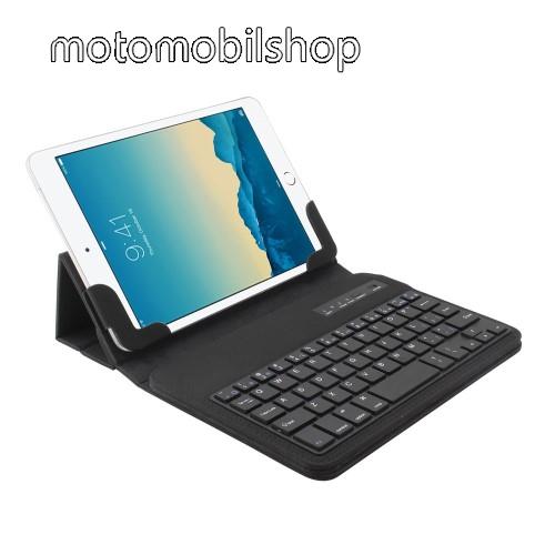 """UNIVERZÁLIS tablet PC flip / mappa bőrtok - 7""""-os készülékekhez, bluetooth billentyűzet, ANGOL KIOSZTÁS! - FEKETE"""