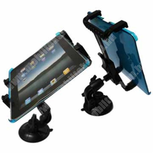 """UNIVERZÁLIS TABLET PC gépkocsi / autó tartó - tapadókorongos / szélvédőre hyelezhető, 360°-ban elforgatható, 145mm / 105mm - 195mm-ig állítható, 7-12""""-os készülékekig használható"""