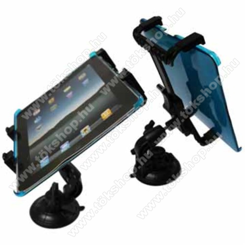 UNIVERZÁLIS TABLET PC gépkocsi / autó tartó - tapadókorongos / szélvédőre hyelezhető, 360°-ban elforgatható, 145mm / 105mm - 195mm-ig állítható, 7-12