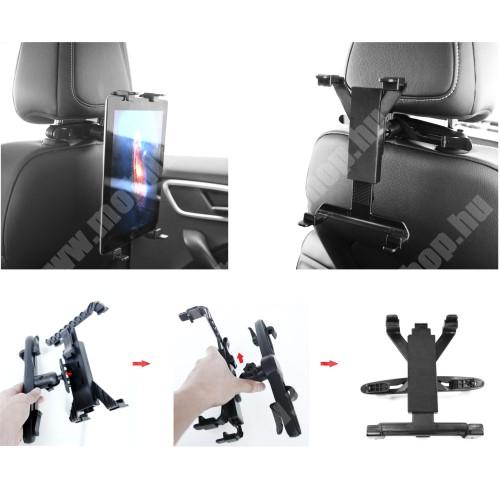"""HUAWEI MediaPad M3 8.4 UNIVERZÁLIS tablet PC gépkocsi / autós tartó - 360°-ban elforgatható, fejtámlára szerelhető tartóval, 7-12""""-os készülékekig - FEKETE"""