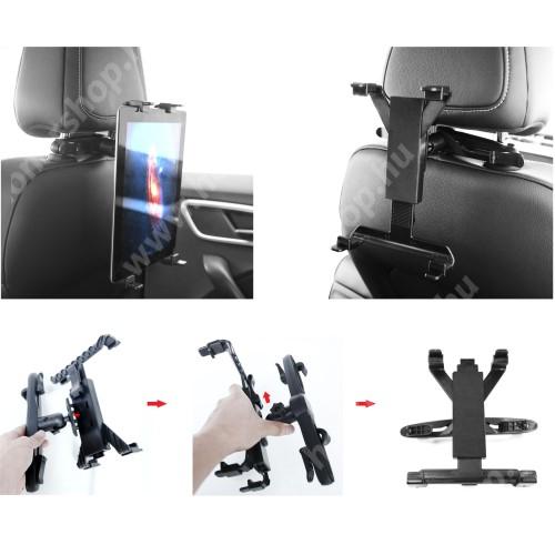 """UNIVERZÁLIS tablet PC gépkocsi / autós tartó - 360°-ban elforgatható, fejtámlára szerelhető tartóval, 7-12""""-os készülékekig - FEKETE"""