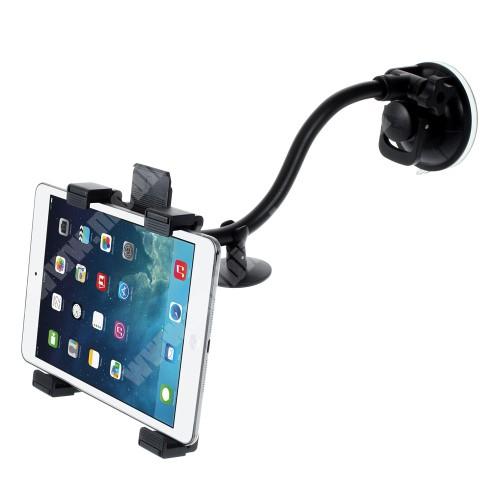 UNIVERZÁLIS TABLET PC gépkocsi / autós tartó - tapadókorongos / szélvédőre helyezhető, 360°-ban elforgatható, 160mm - 210mm-ig állítható bölcső - FEKETE