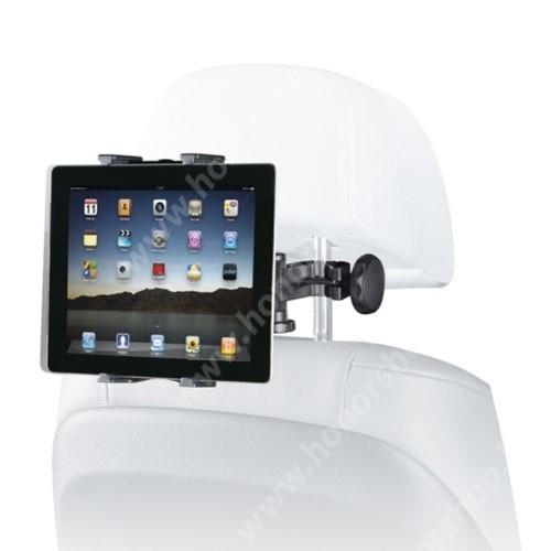 """HUAWEI Honor Waterplay 8 UNIVERZÁLIS tablet PC gépkocsi / autós tartó - 360°-ban elforgatható, fejtámlára szerelhető tartóval, 7-12""""-os készülékekig - FEKETE"""