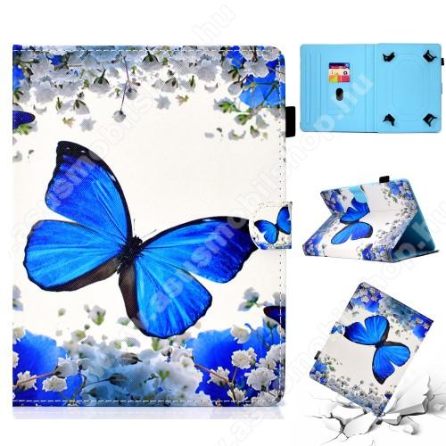 ASUS Memo Pad 7 ME572CUNIVERZÁLIS tablet PC notesz / mappa tok - KÉK PILLANGÓ / VIRÁG MINTÁS - oldalra nyíló, asztali tartó funkciós, mágneses záródás, belső zsebek, tolltartó, 7