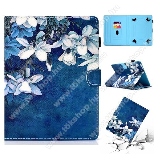 UNIVERZÁLIS tablet PC notesz / mappa tok - FEHÉR VIRÁG MINTÁS - oldalra nyíló, asztali tartó funkciós, mágneses záródás, belső zsebek, tolltartó, 7