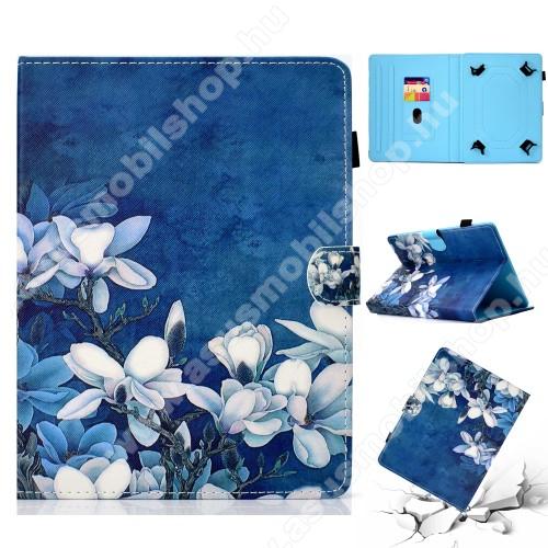 ASUS Memo Pad 7 ME572CUNIVERZÁLIS tablet PC notesz / mappa tok - FEHÉR VIRÁG MINTÁS - oldalra nyíló, asztali tartó funkciós, mágneses záródás, belső zsebek, tolltartó, 7