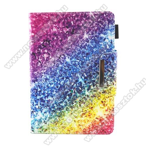 UNIVERZÁLIS tablet PC notesz / mappa tok - SZÍNES FLITTER MINTÁS - oldalra nyíló, asztali tartó funkciós, mágneses záródás, belső zsebek, tolltartó, 7