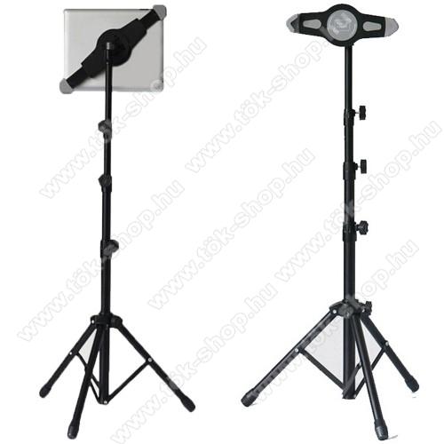 UNIVERZÁLIS Tablet PC tartó / állvány -  360 °-fokban forgatható, alumínium, tripod, állítható magasság 0,7-1,4 m-ig,  7
