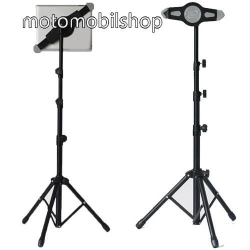 """UNIVERZÁLIS Tablet PC tartó / állvány -  360 °-fokban forgatható, alumínium, tripod, állítható magasság 0,7-1,4 m-ig,  7""""-11"""" készülékekhez - FEKETE"""