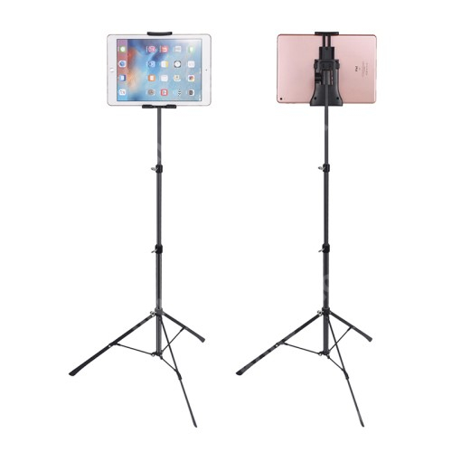 """UNIVERZÁLIS Tablet PC tartó / állvány - 360 °-fokban forgatható, alumínium, tripod, állítható magasság 42cm-150cm-ig, állítható bölcső 12cm-23,5cm-ig, 4""""-12""""-os készülékekhez - FEKETE"""