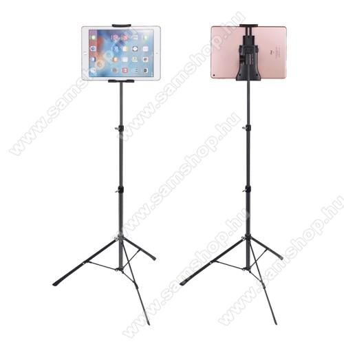 UNIVERZÁLIS Tablet PC tartó / állvány - 360 °-fokban forgatható, alumínium, tripod, állítható magasság 42cm-150cm-ig, állítható bölcső 12cm-23,5cm-ig, 4