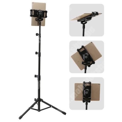 UNIVERZÁLIS Tablet PC tartó / állvány - 360°-ban forgatható, 180°-ban forgatható, alumínium, tripod, összecsukható, csúszásgátló, állítható magasság 55cm-145cm-ig, állítható bölcső 135-225mm-ig - FEKETE