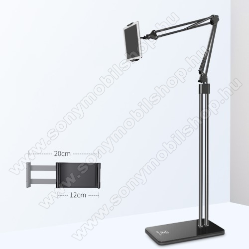 UNIVERZÁLIS Tablet PC tartó / állvány - FEKETE -  360 °-fokban forgatható, alumínium, tripod, 120-200mm-ig állítható bölcsővel, 1,5m teljes magasság